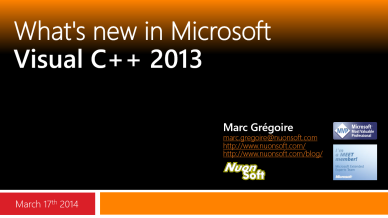 Marc Gregoire - What's new in Visual C++ 2013