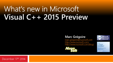 Marc Gregoire - What's new in Visual C++ 2015