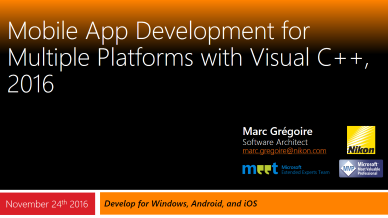 Marc Gregoire - Mobile App Development for Multiple Platforms with Visual C++, 2016